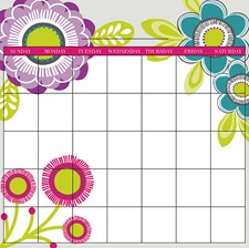 WPE98864 Poppy Dry Erase Message Board And Calendar Combo Decals by Brewster