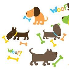 WPK0614 Puppy Love Applique Wall Art Kit by Brewster