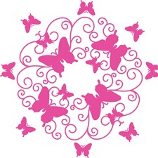 WPM1767 Pink Butterfly Scroll Ceiling Medallion by Brewster