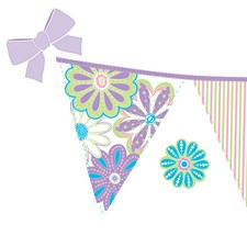WPS0601 Patchwork Daisy Stripes Decal by Brewster