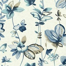 Pearl White/Blue/Light Taupe Floral Medium Wallcovering by York