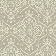 Taupe/Cream/Silver Glitter Damask Wallcovering by York