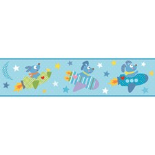 Touch Of Teal Blue/Deep Yellow/Denim Blue Rocket Ship Wallcovering by York